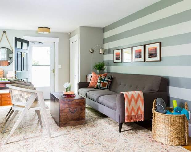 cozy living room with beautiful horizontal striped wall accent