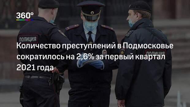 Количество преступлений в Подмосковье сократилось на 2,6% за первый квартал 2021 года