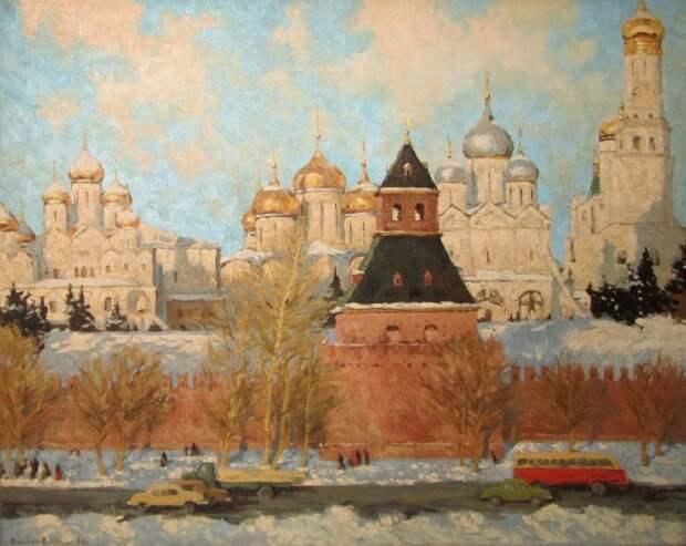 Кремлёвские соборы. Холст, масло.  Автор: Эдвард Выржиковский.
