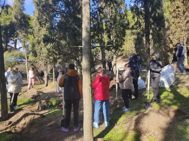 В Форосском парке крымчане начали высаживать деревья