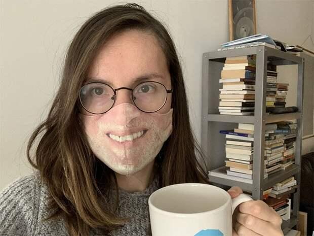 Девушка создаёт маски с рисунком лица — странная, но гениальная идея