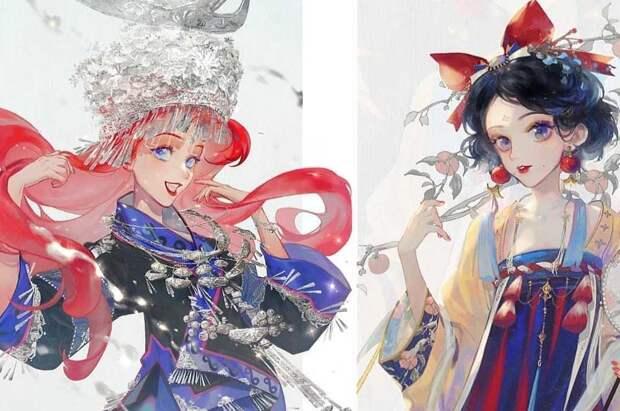 Нежные принцессы Disney в японском стиле