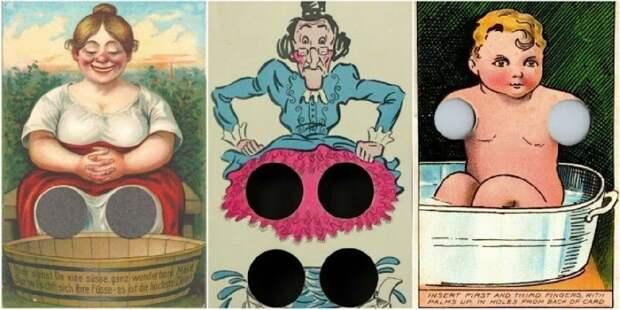 Забава столетней давности: странные интерактивные открытки с отверстиями для пальцев