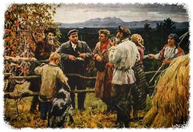 Художник В. Басов, «В.И. Ленин среди крестьян села Шушенское»