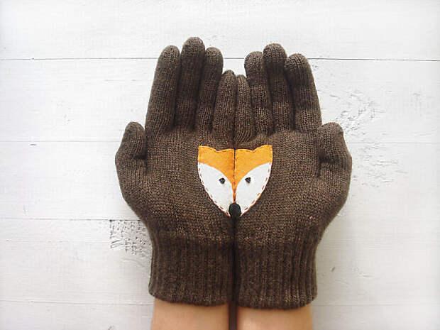 Перчатки с лисичкой вязание, новый год, подарки