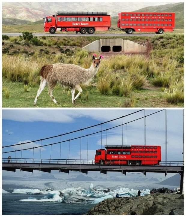 Во время путешествий по бездорожью, автобус заменяют специальные грузовики-вездеходы (Отель на колесах Rotel Tours).
