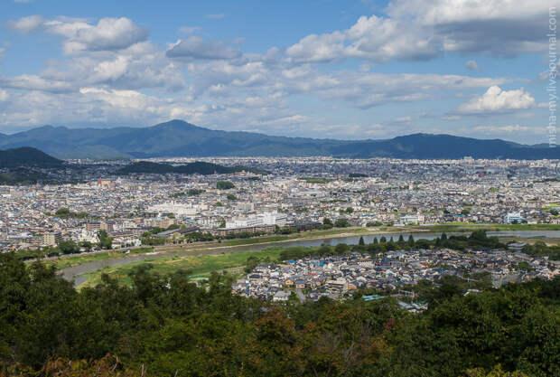 Вид на Киото со смотровой площадки парка