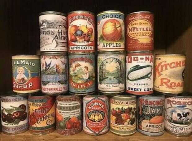 Широкий ассортимент американских консервов начала ХХ века