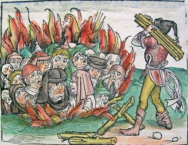 Сожжение евреев погромщиками в средневековой Германии