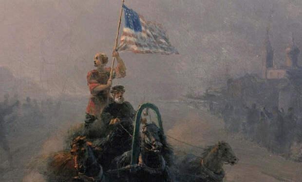 Запрещенная картина Айвазовского: художник нарисовал повозку с американским флагом в русской деревне
