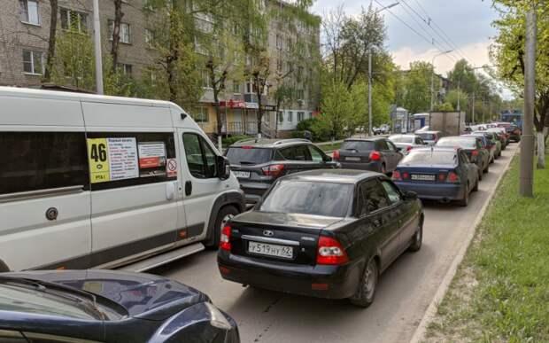 В Рязани на Московском шоссе образовалась крупная пробка