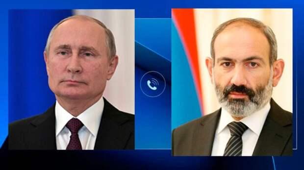 Путин вбеседе сПашиняном подчеркнул необходимость деэскалации вКарабахе