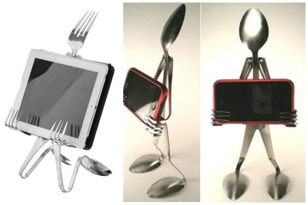 Не знаете куда поставить телефон и планшет? Пожалуйста! вилки, ложки, ножи, сделай сам, столовые приборы, умельцы, фантазия