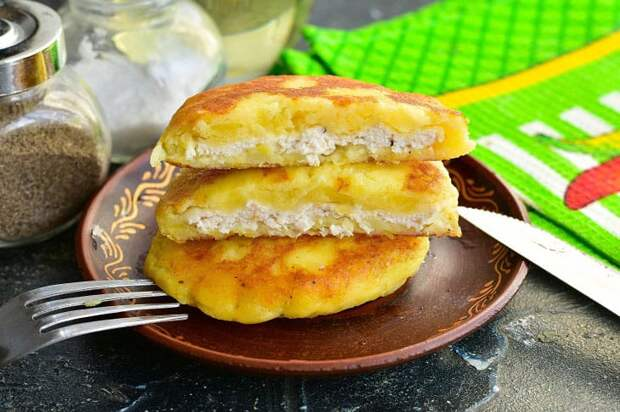 Картофельная лепёшка с мясом. Рецепт быстрый и вкусный 2