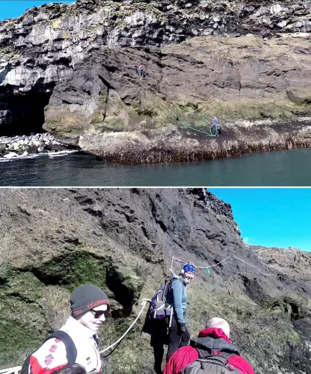 Туристов и отдыхающих при подъеме на плато страхуют сопровождающие (о.Эдлидаэй, Исландия).   Фото: youtube.com/ © Torz Film.