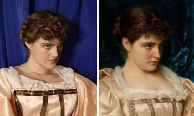 Воссоздание классических картин российской художницей Лизой Юхневой