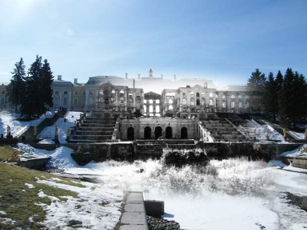 Петергоф 1944-2009 Разрушенный Большой Петергофский дворец.Украденный Самсон блокада, ленинград, победа
