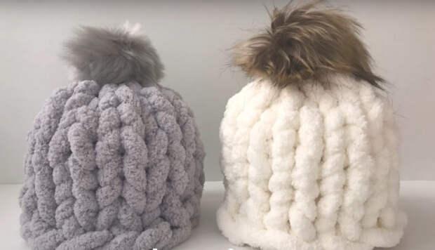Красивая, стильная и теплая шапка из пряжи без крючка и спиц