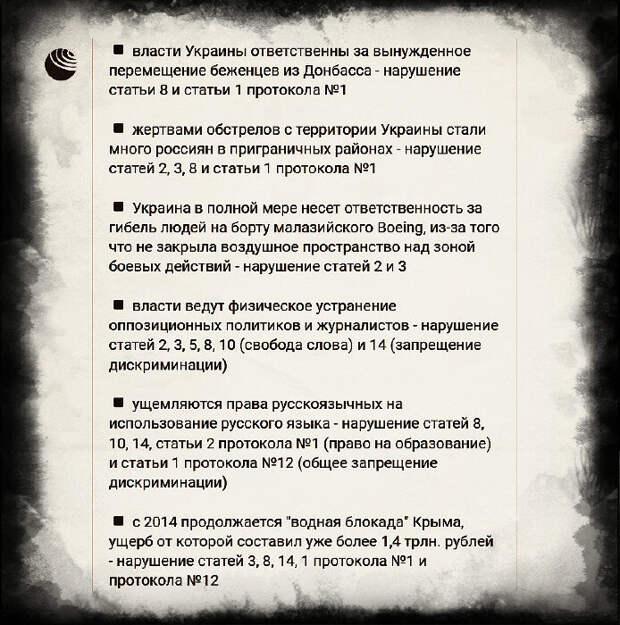Россия подала первую в своей истории межгосударственную жалобу в Европейский суд по правам человека (ЕСПЧ)...
