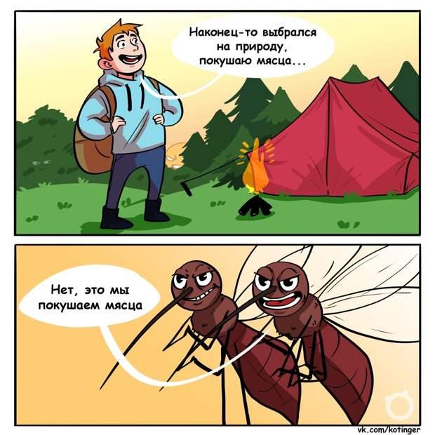 «Наша сила не в укусе, а в угрозе укуса!» - 7 смешных комиксов про комаров от разных авторов