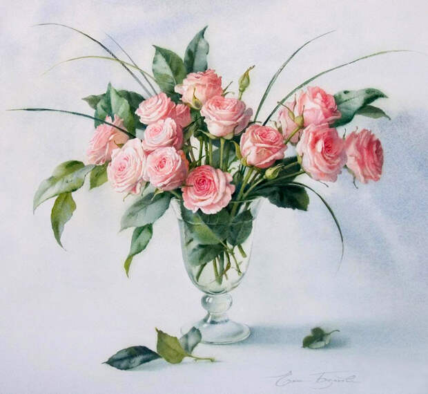 Акварели художницы Базановой Елены. Как распускаются цветы