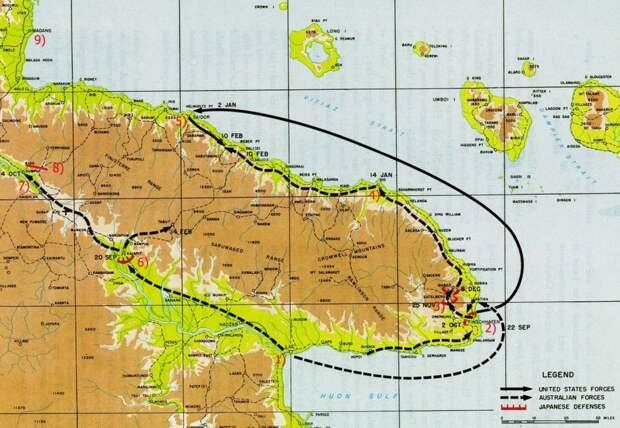 Карта боевых действий на Новой Гвинее осенью 1943 — зимой 1944 года. Цифрами обозначены: 1 — Лаэ; 2 — Финшхафен; 3 — Сательберг; 4 — Сио; 5 — Сайдор; 6 — Каиапит; 7 — Думпу; 8 — «Лохматый хребет»; 9 — Маданг history.army.mil - «Адский остров»: трагедия 18-й японской армии | Военно-исторический портал Warspot.ru