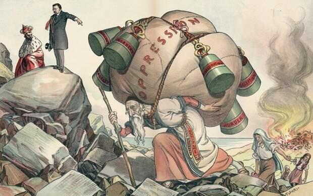 """Теодор Рузвельт - Николаю II: """"Прекратите жестокое притеснение евреев. Теперь, когда у вас внешний мир, почему бы не жить в мире и внутри границ России? Американская карикатура, 1906 год."""
