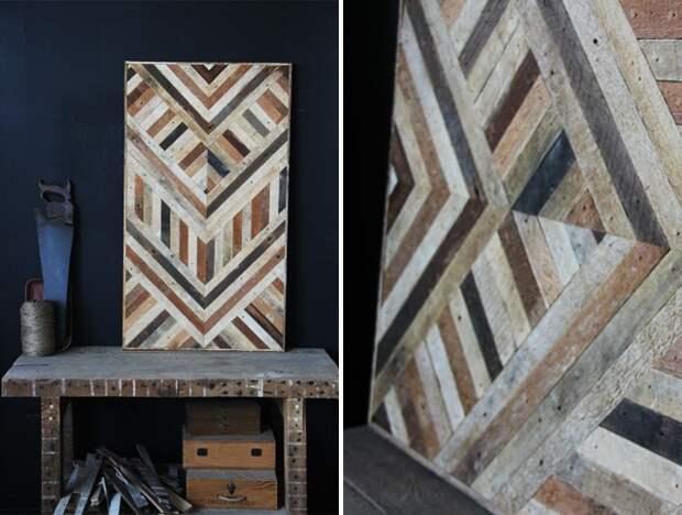 Невероятно красивая мозаика на столах из старых реек