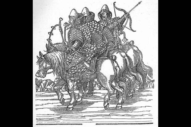 Русские всадники XVI века. Гравюра Сигизмунда Герберштейна.