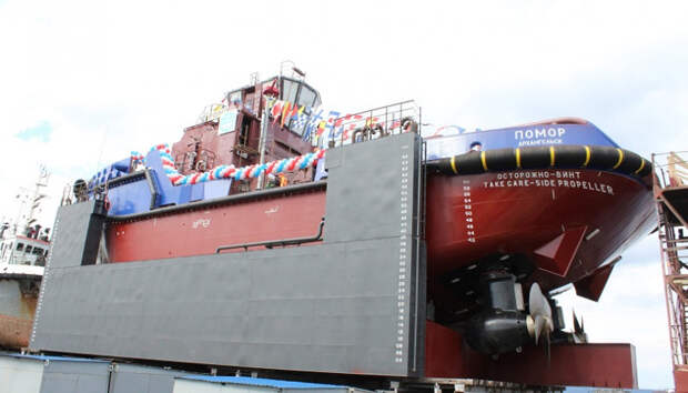 Буксир «Помор» спустили на воду в Петрозаводске