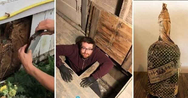 Парни нашли встене старого дома 60бутылок контрабандного виски из1920-х.