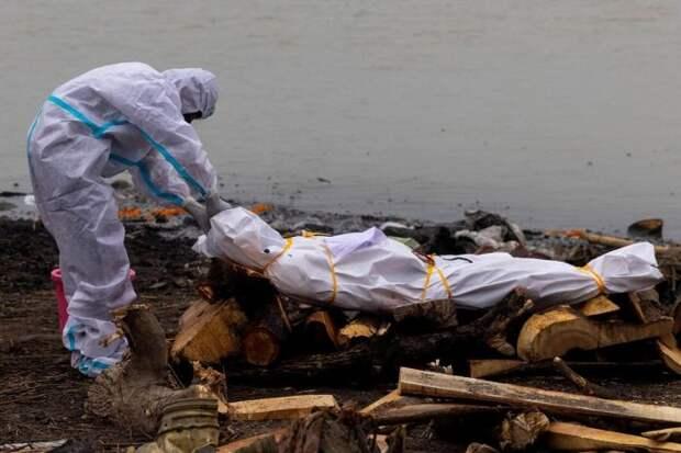 Индийская полиция палками избивает нарушителей карантина, а сотни трупов вымываются из могил