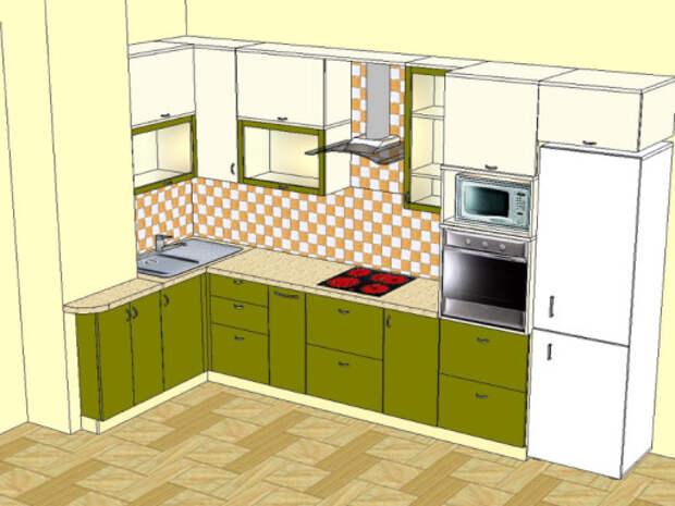 Вариант планировки оливковой кухни