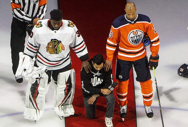 NHL's Matt Dumba Delivers Passionate Black Lives Matter Speech Before Blackhawks vs. Oilers Game — Watch