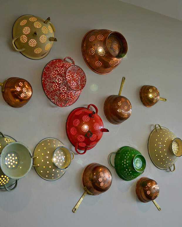 Wall Lights From Pasta Strainers