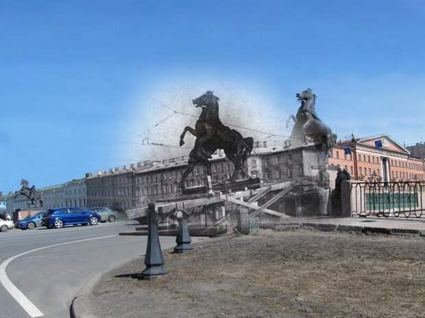Ленинград 1941-2009 Аничков мост. Кони Клодта покидают свои привычные места. Почти четыре года они будут спрятаны в земле Аничкова сада блокада, ленинград, победа