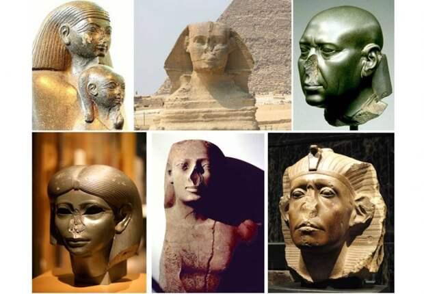 Почему у большинства древнеегипеских статуй нет носов? Кто и зачем их отбил?