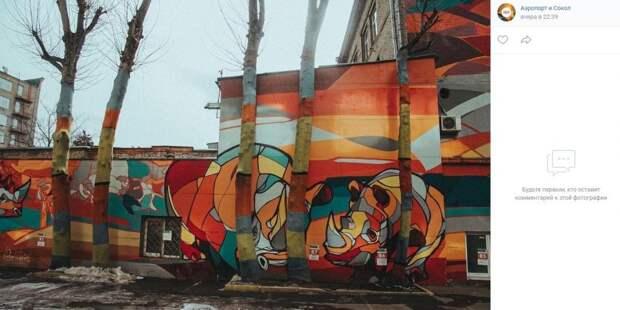 Фото дня: разноцветные деревья и носороги на Ленинградке