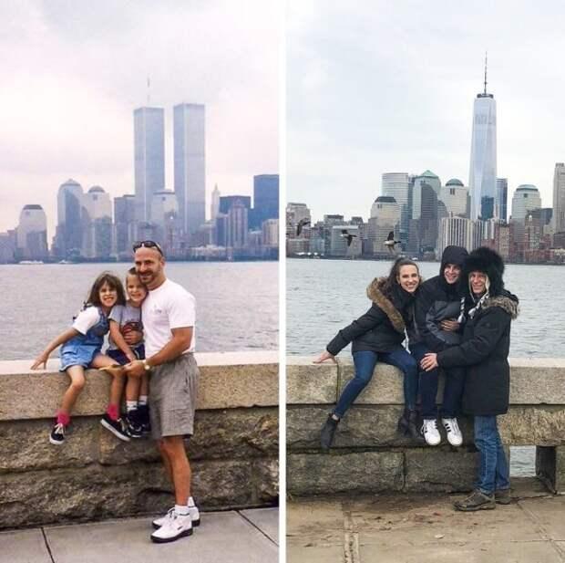 Семейное фото 1999 года и много лет спустя.