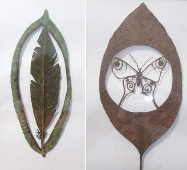 Искусство вырезания силуэтов на листьях: Lorenzo Duran