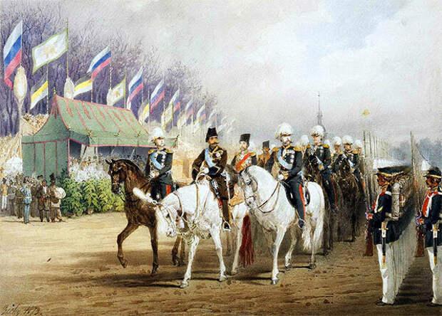 М. Зичи. Александр II и шах Насер ад-Дин на параде