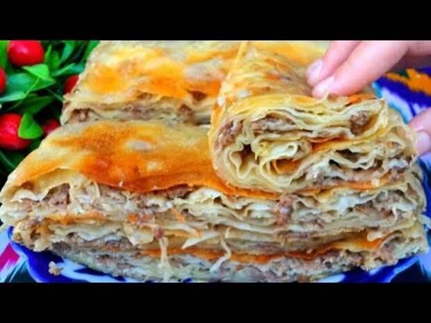 Свекровь научила, теперь кто пробуют просят рецепт! Съедаются в один миг! Узбекская мясная лепешка!