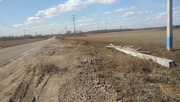 Навал мусора убрали с обочины дороги М‑2 «Крым» в Подольске