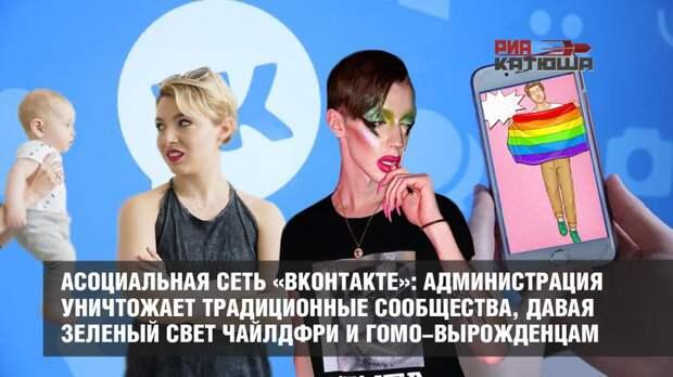 Асоциальная сеть «ВКонтакте»: администрация уничтожает традиционные сообщества, давая зеленый свет чайлдфри и гомо-вырожденцам