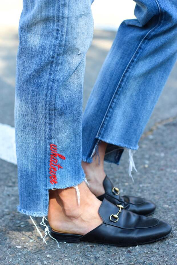 Вышитые буквы на джинсе (Diy)