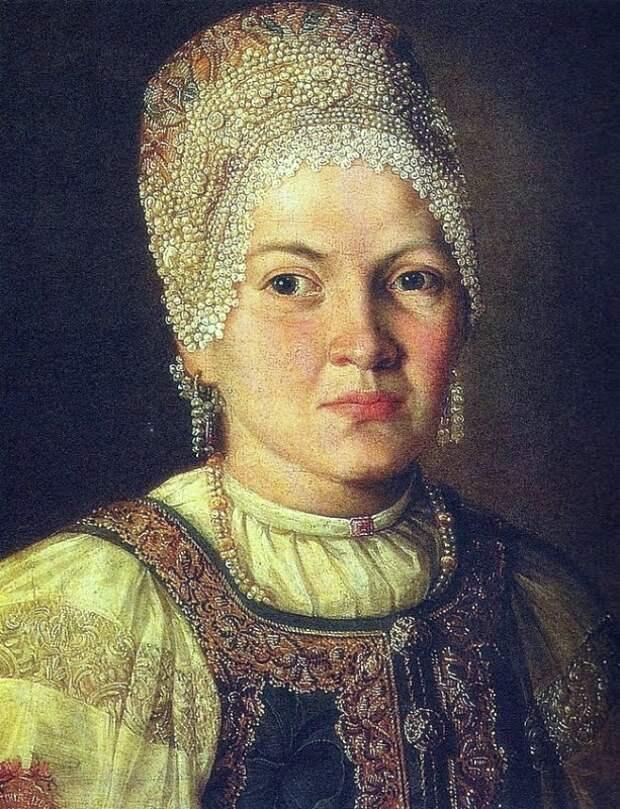 Неизвестный художник «Портрет женщины в русском народном головном уборе» 1769