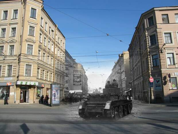 Ленинград 1942-2009 Финский переулок. Танк БТ-5 блокада, ленинград, победа