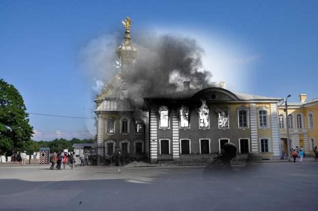 Петергоф 1941-2011 Горящий корпус Под гербом блокада, ленинград, победа