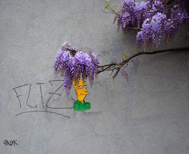 Стрит-арт, взаимодействующий с природой