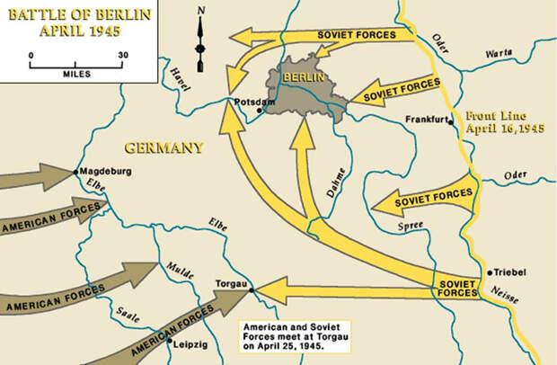 Карта с обозначением движения войск союзников.